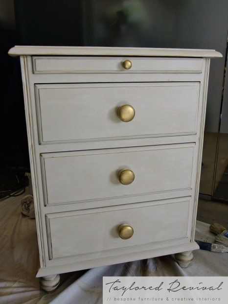 Old Ochre, with a white wash with gold handles
