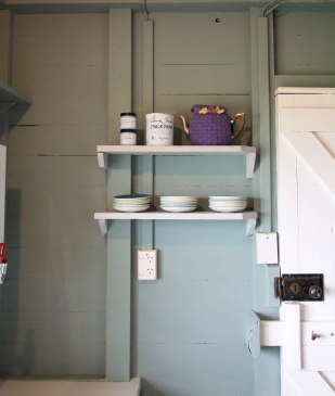 Walls in Duck egg, shelves in Paris Grey mixed with Pure White
